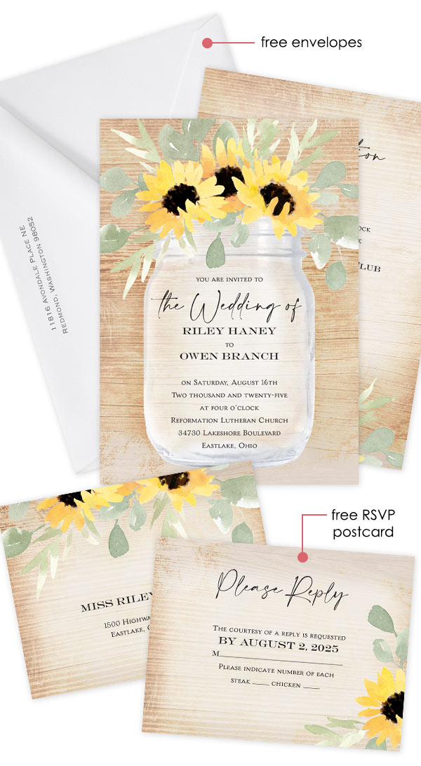 Pretty Sunflowers Invitation with Free RSVP Card