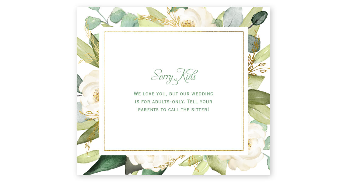 How to word your adult-only wedding invitations