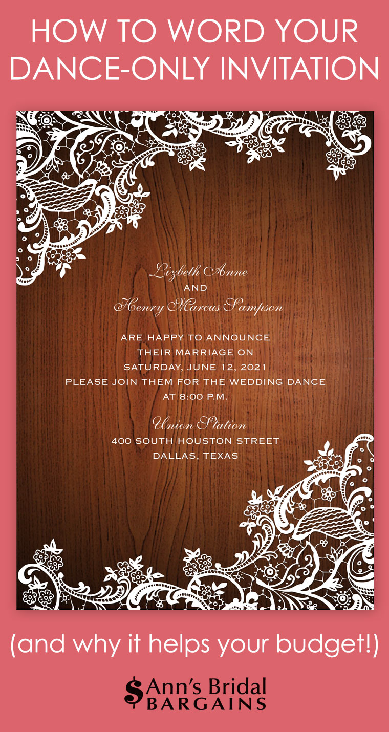 Dance-Only Invitation Wording