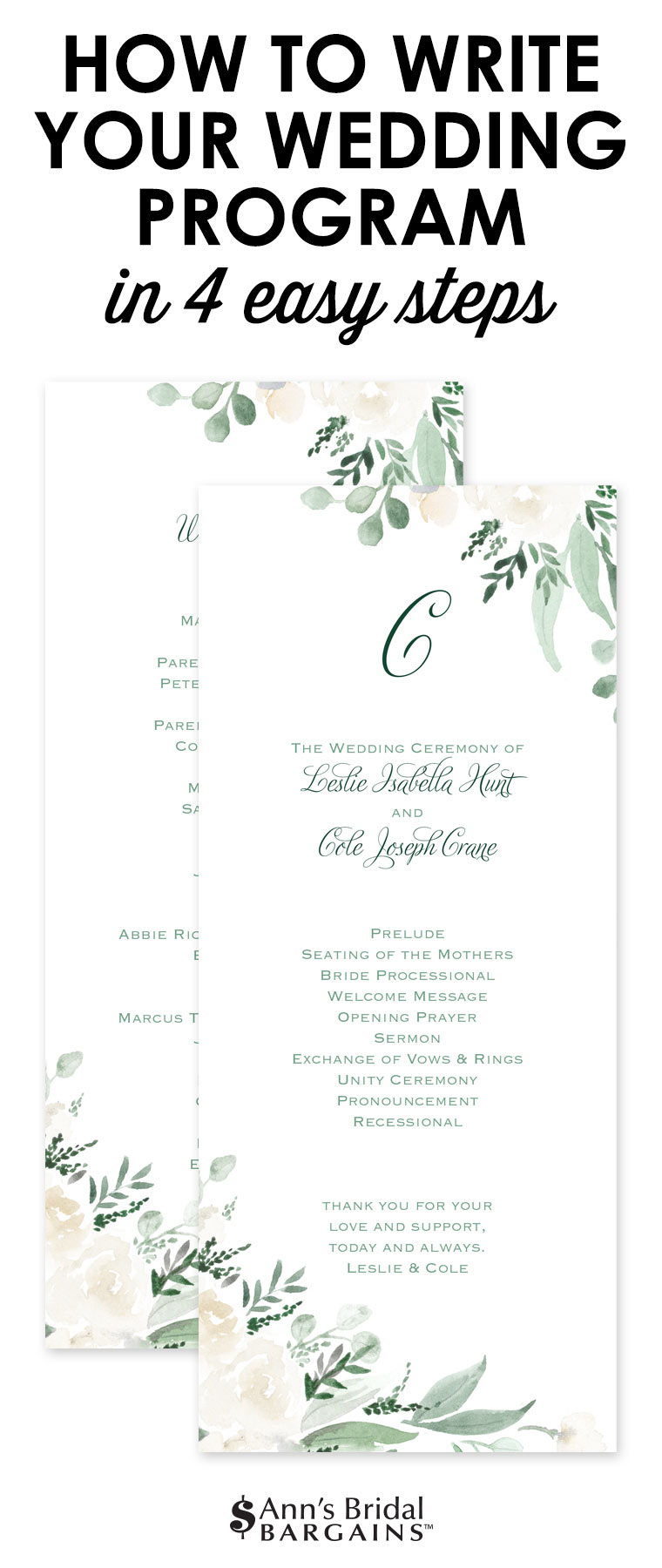 How To Write Your Wedding Program in 4 Easy Steps