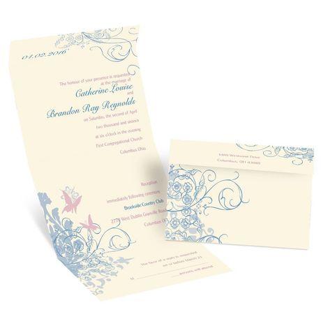 Butterflies - Ecru - Seal and Send Invitation
