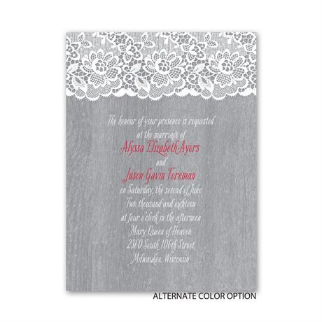 Woodgrain and Lace - Petite Invitation