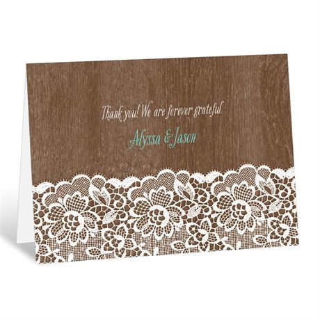 Woodgrain and Lace  Thank You Card