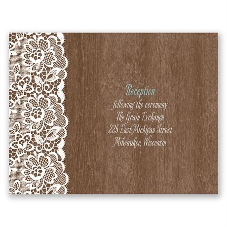 Woodgrain and Lace  Reception Card