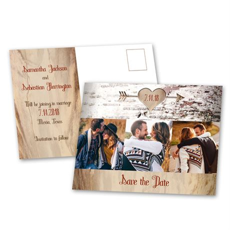 Aged Birch Save the Date Postcard