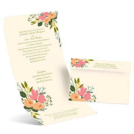 Painted Petals - Ecru - Seal and Send Invitation