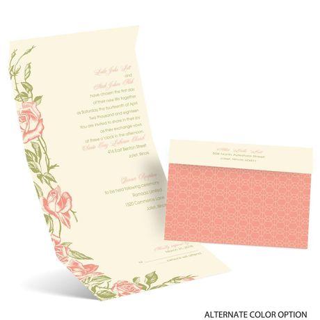 Rose Impression - Ecru - Seal and Send Invitation