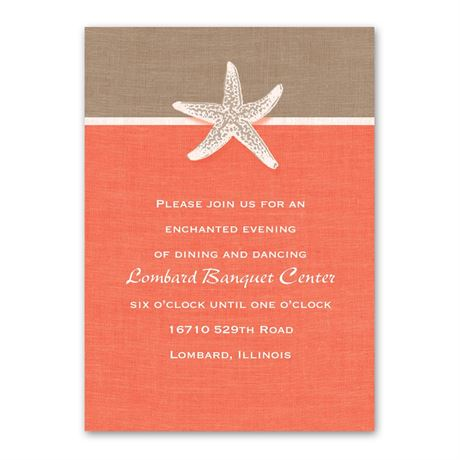 Starfish and Linen  Reception Card