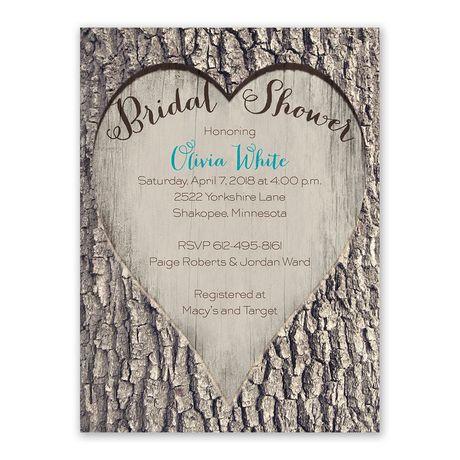 Carved Heart - Bridal Shower Invitation