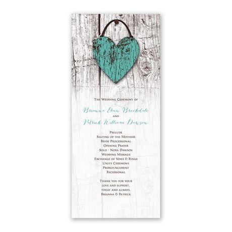 Wood Heart Wedding Program
