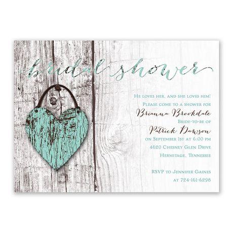 Wood Heart - Bridal Shower Invitation