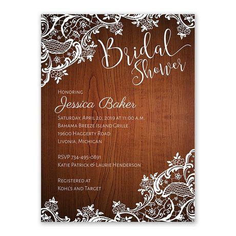 Lace Corners - Bridal Shower Invitation