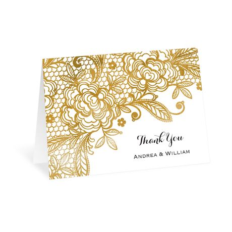 Gold Lace Thank You Card