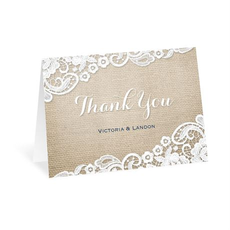 Burlap and Lace Frame Thank You Card