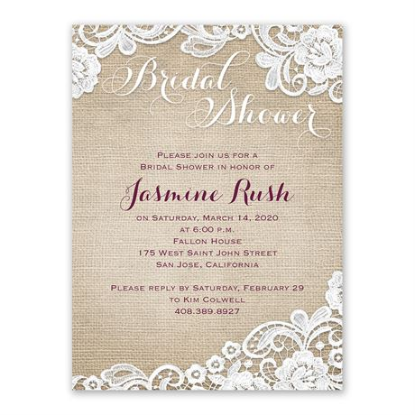 Burlap and Lace - Bridal Shower Invitation