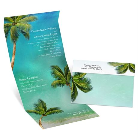 Watercolor Palm Trees  Seal and Send Invitation