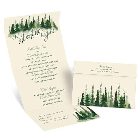 Watercolor Pines - Ecru - Seal and Send Invitation