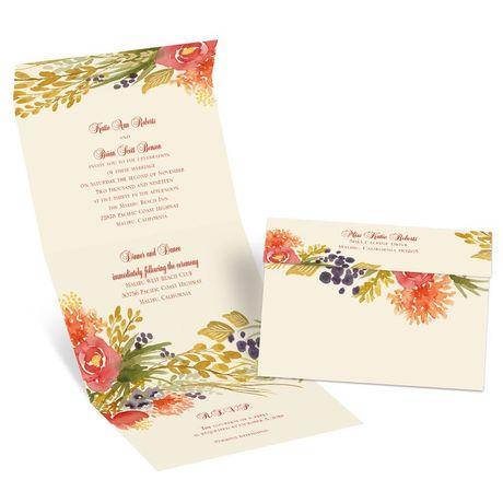 Fall Florals - Ecru - Seal and Send Invitation