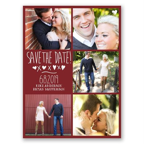 Love and Kisses  Save the Date Card