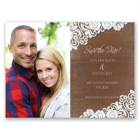 Graced with Lace  Save the Date Card