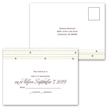 Gold Beads - Invitation with Free Respond Postcard