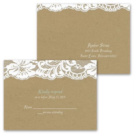 Band of Lace - Invitation with Free Respond Postcard