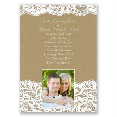 Band of Lace Invitation with Free Respond Postcard