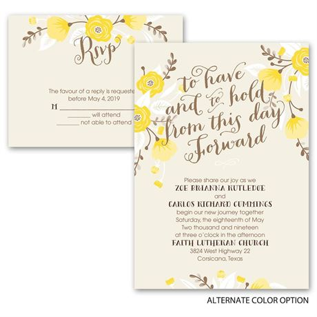Floral Romance - Invitation with Free Respond Postcard
