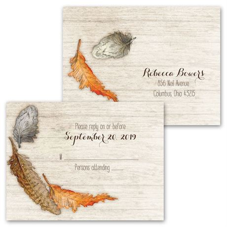 Woodland Feathers - Invitation with Free Respond Postcard
