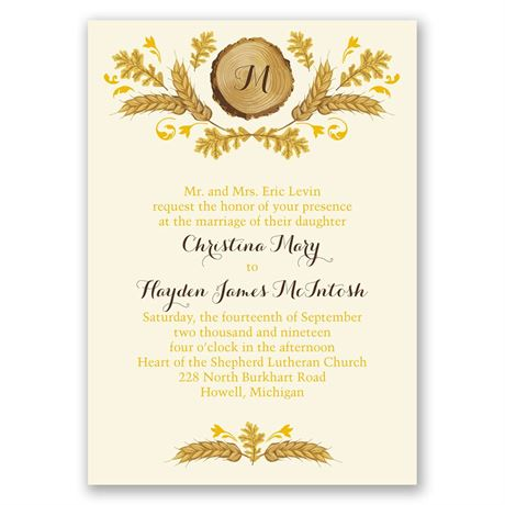Rustic Details - Ecru - Invitation with Free Respond Postcard