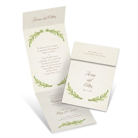 Leaves and Linen  Invitation with Online Reply