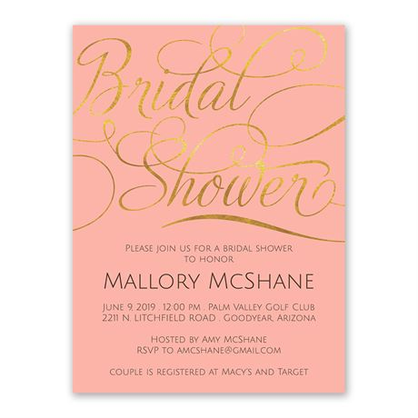 Gold Beauty Bridal Shower Invitation