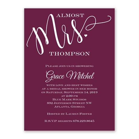 Almost Mrs. - Bridal Shower Invitation
