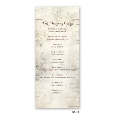 Birch Tree Carving - Wedding Program