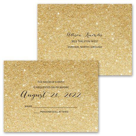Glitter Illusion - Gold - Invitation with Free Response Postcard