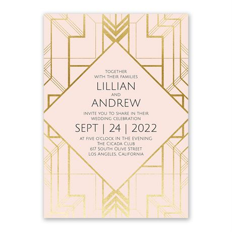 Art Deco Shine - Invitation with Free Respond Postcard