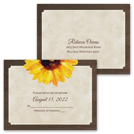 Country Sunflowers - Invitation with Free Response Postcard