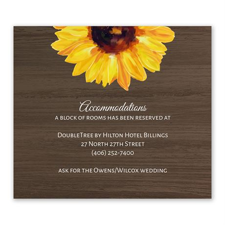 Country Sunflowers Information Card