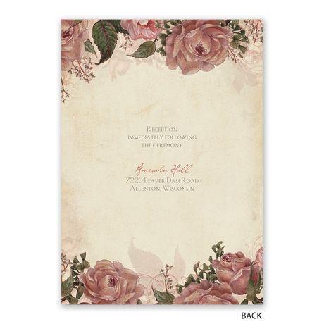 Vintage Roses - Invitation with Free Response Postcard