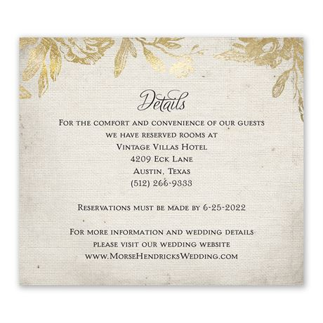 Rustic Glam Information Card