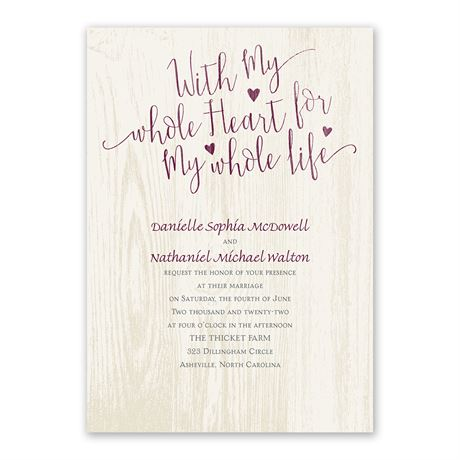 My Whole Heart Invitation with Free Response Postcard