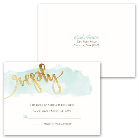 Watercolor Love - Invitation with Free Response Postcard