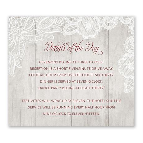 Weathered Lace Information Card