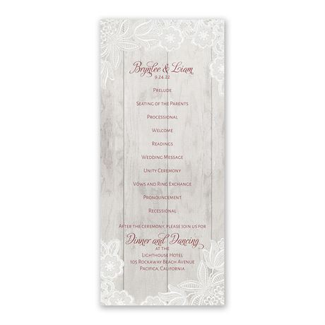 Weathered Lace - Wedding Program