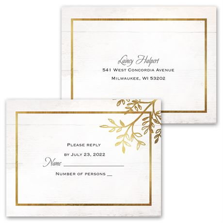 Country Glam - Invitation with Free Response Postcard