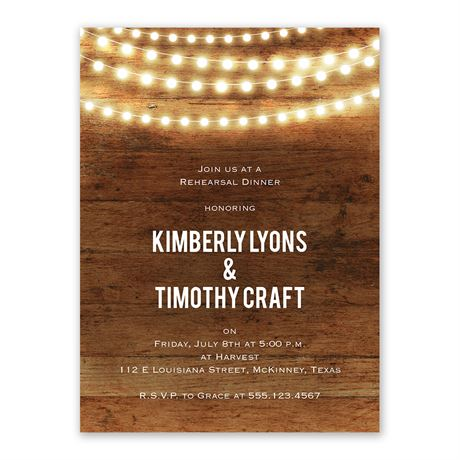 Brilliant Lights Rehearsal Dinner Invitation