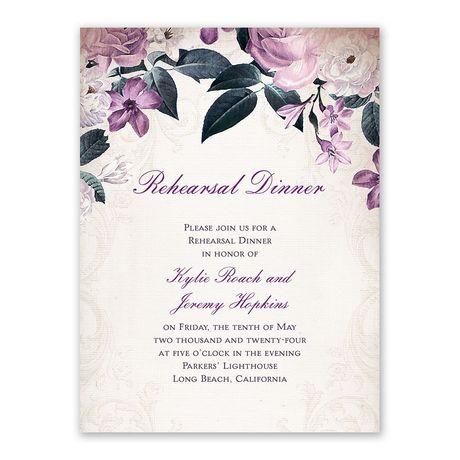 Victorian Floral Rehearsal Dinner Invitation