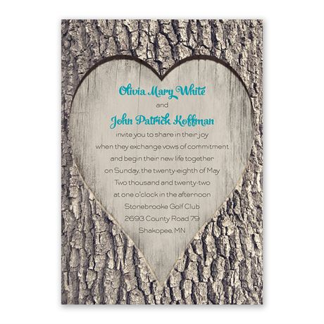 Carved Heart Invitation with Free Response Postcard