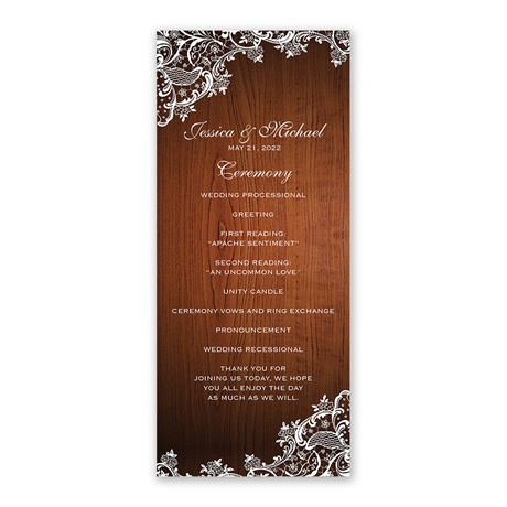 Lace Corners - Wedding Program