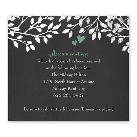 Chalkboard Lovebirds Information Card